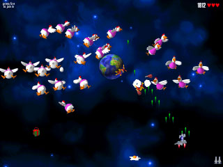 Save the earth from invading chickens! Fast-paced action for one or two players.