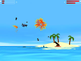 Island Wars - arcade, shooters, shoot-em-up, war, tank, action, duel, island, sea, airplane, c - Fight for supreme control of your palm trees! Fast-paced action for 1-2 players.